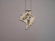 Silver & 18ct gold pendant with 3 Cubic Zirconia