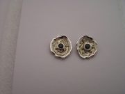 Silver & 18ct Gold stud earrings with green Sapphires